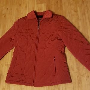 Deep Red Fitted Quilted Coat